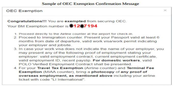 oec confirmation message
