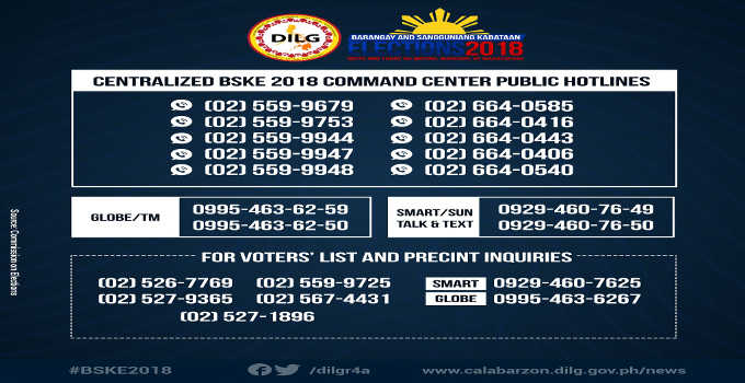 barangay election hotline