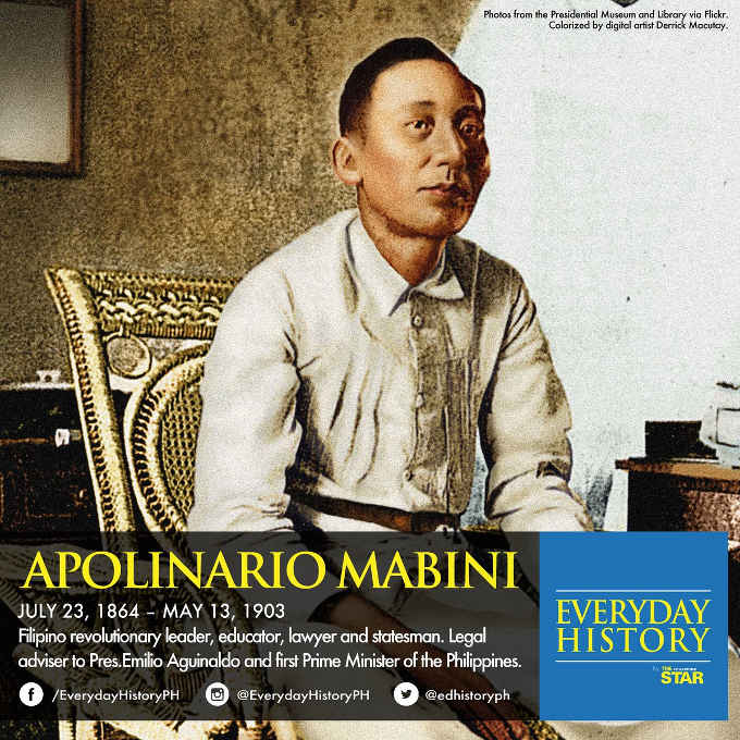 Apolinario Mabini died may 13