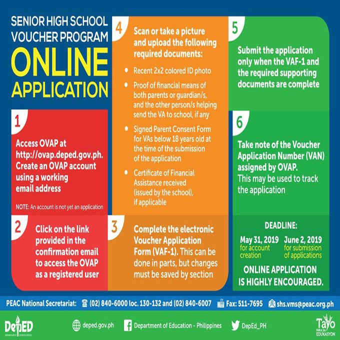senior high school voucher program online application