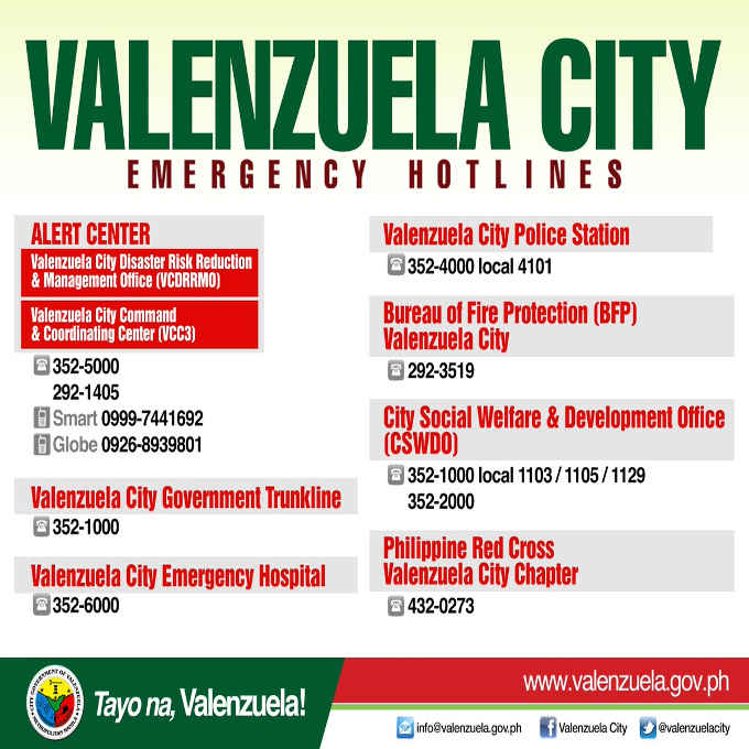 valenzuela city emergency hotlines