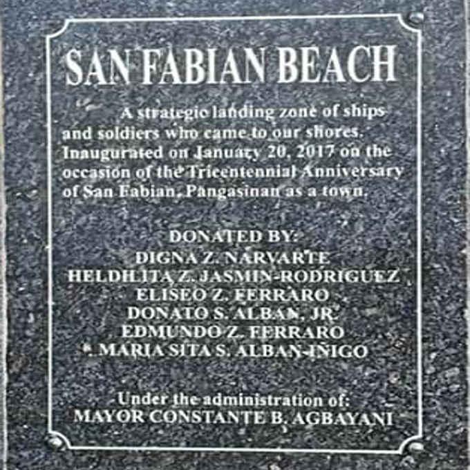 san fabian beach marker