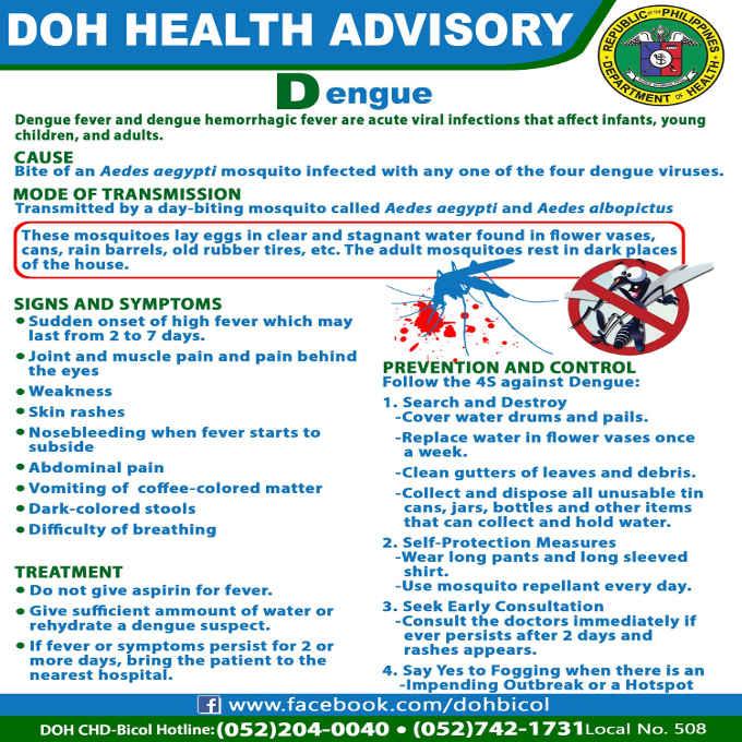 doh advisory on dengue