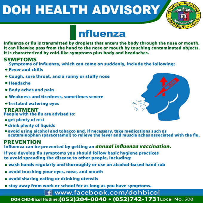 doh health advisory on influenza