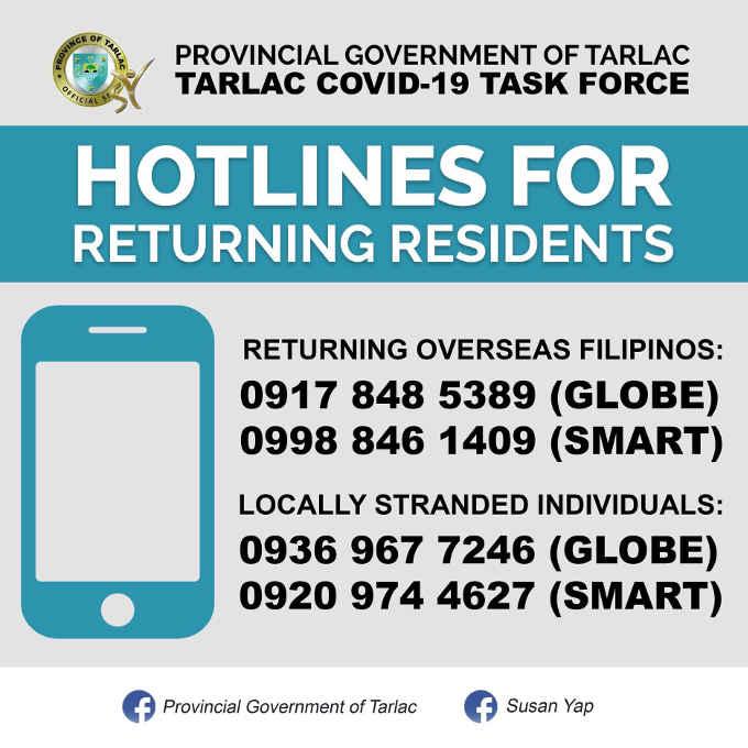 tarlac hotlines