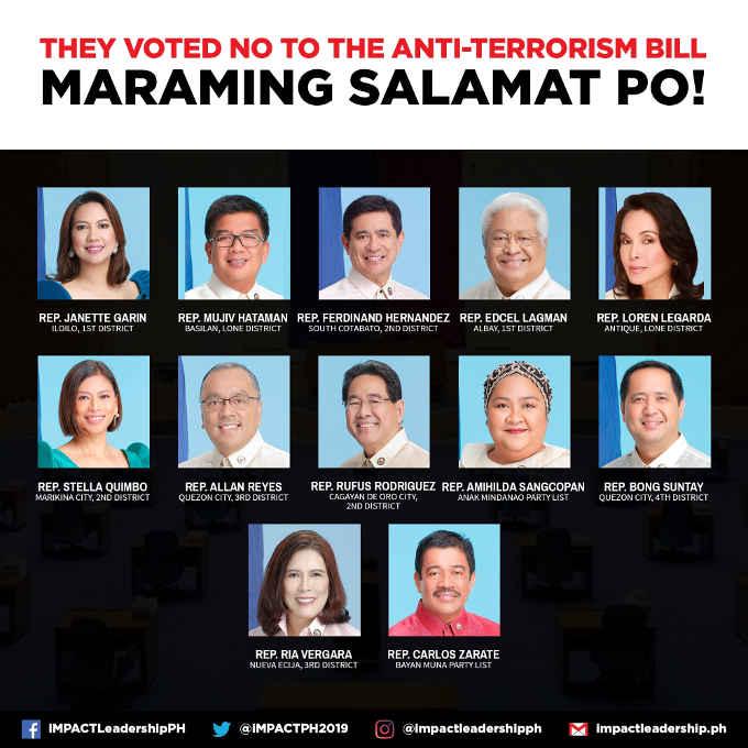 representatives who voted no to the anti-terrorism law
