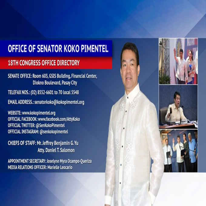 senator koko pimentel office address