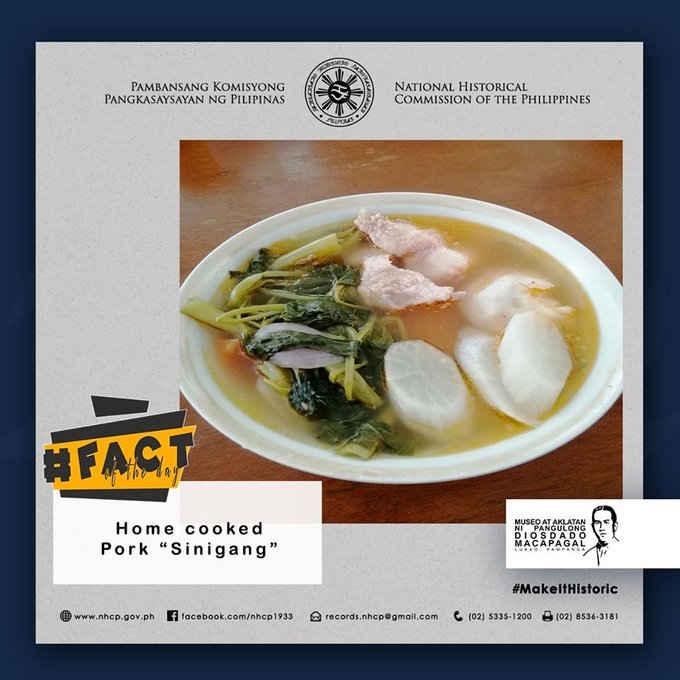 Diosdado Macapagal's favorite food: Sinigang na Baboy